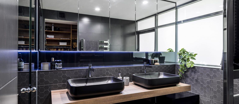 Luxury Bathroom Design Brisbane Australia hexagonal tiles black toilet & basin