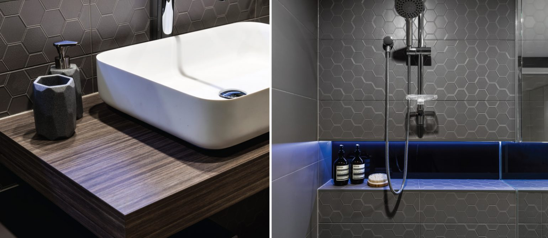 Bathroom Renovation Design brisbane hexagon mosaic tiles