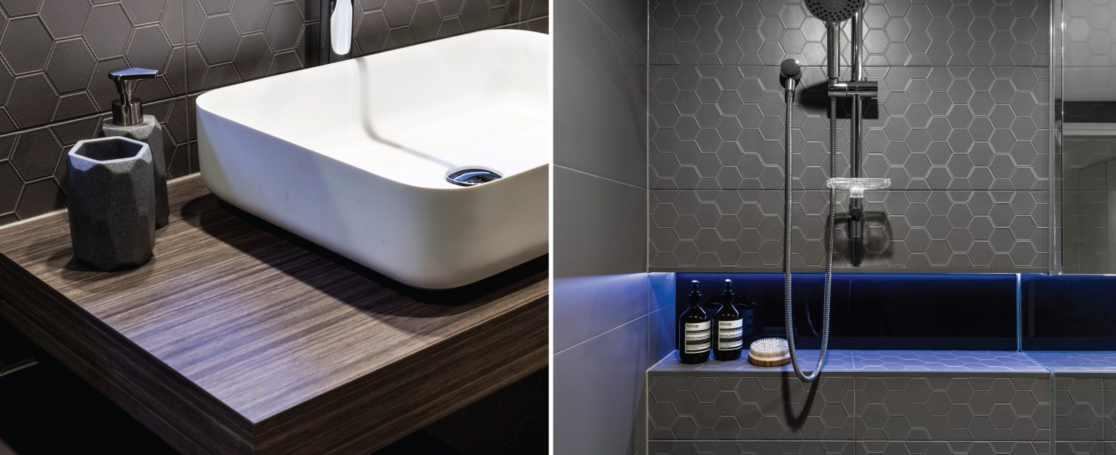 Bathroom Renovation Design brisbane hexagon mosaic tiles