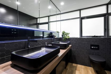Luxury Bathroom Design Brisbane Australia hexagonal tiles black toilet & basin