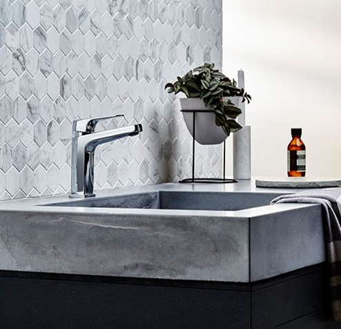 Bathroom Tapware - Basin Mixer hexagon mosaic tiles and stone basin